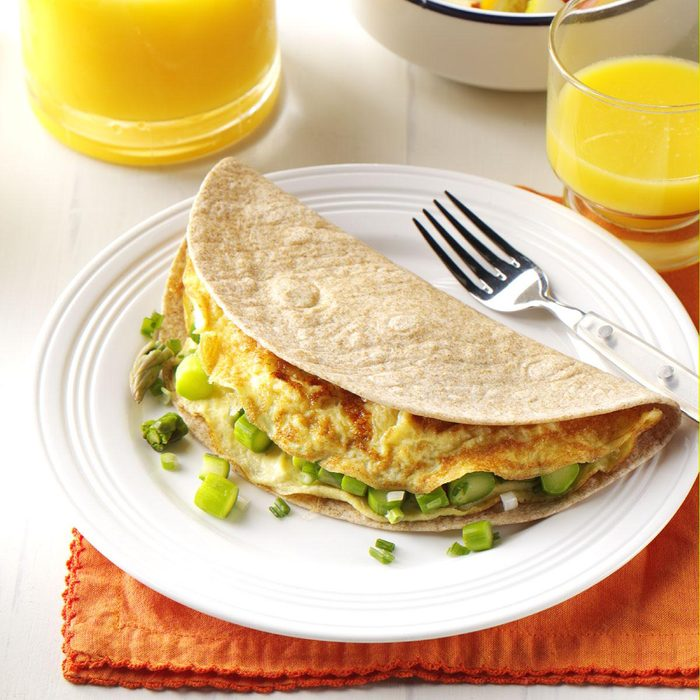 Day 6 Breakfast: Asparagus Omelet Tortilla Wrap