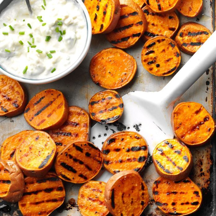 Grillmaster Dinner: Grilled Sweet Potatoes with Gorgonzola Spread