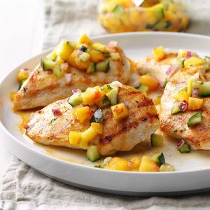 Chicken with Peach-Cucumber Salsa