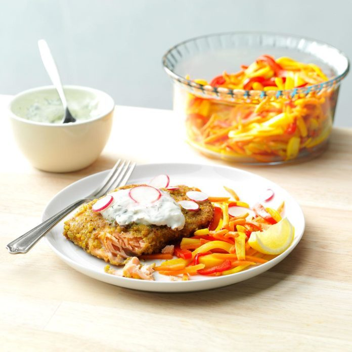 Pistachio-Crusted Salmon with Rainbow Vegetable Cream