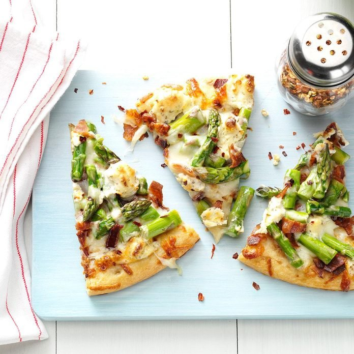 Asparagus, Bacon & Herbed Cheese Pizza
