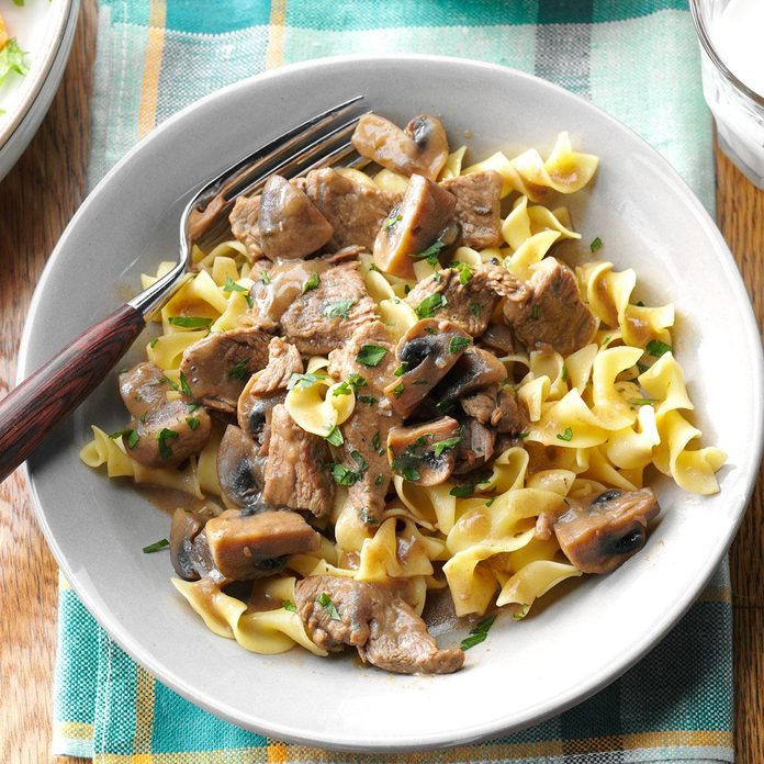 Beef Burgundy Over Noodles