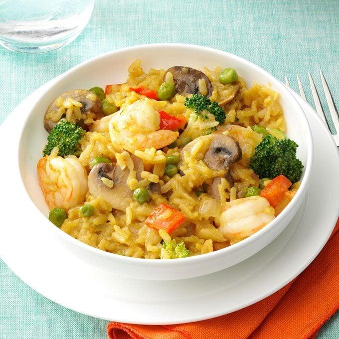 Shrimp & Broccoli Brown Rice Paella