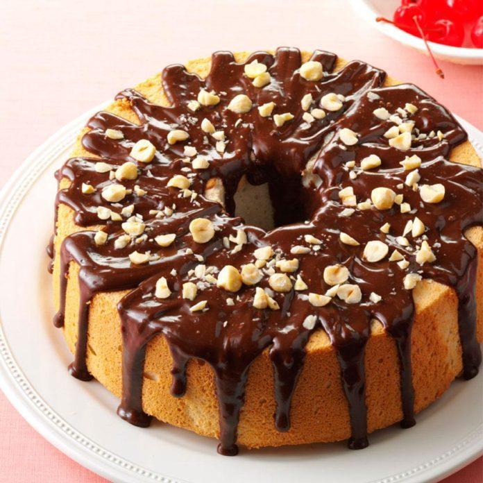 Mocha-Hazelnut Glazed Angel Food Cake
