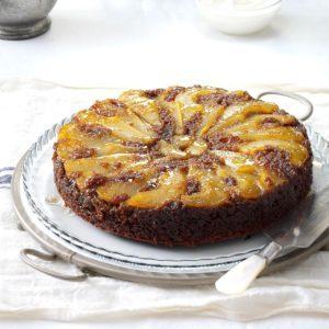 Upside-Down Pear Gingerbread Cake