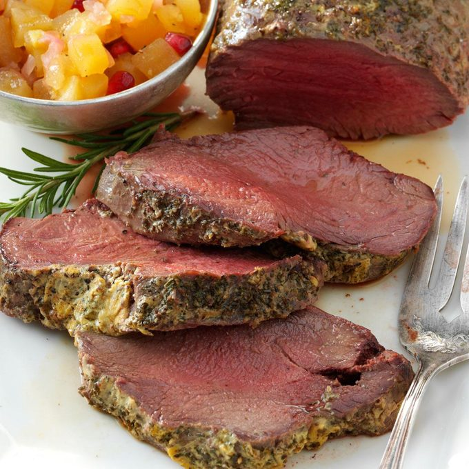 Beef Tenderloin with Pomegranate Chutney