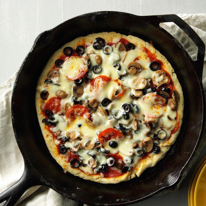 Cheese & Mushroom Skillet Pizza