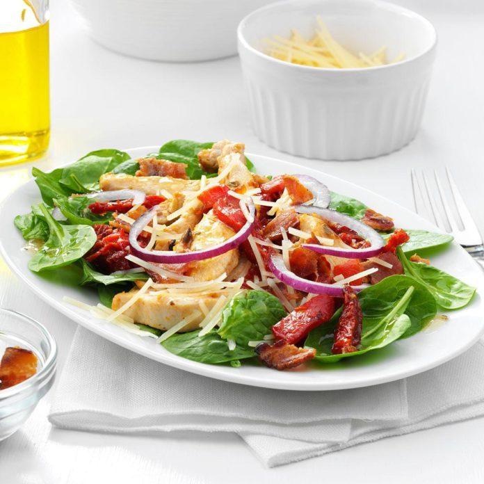 Sun-Dried Tomato & Chicken Spinach Salad