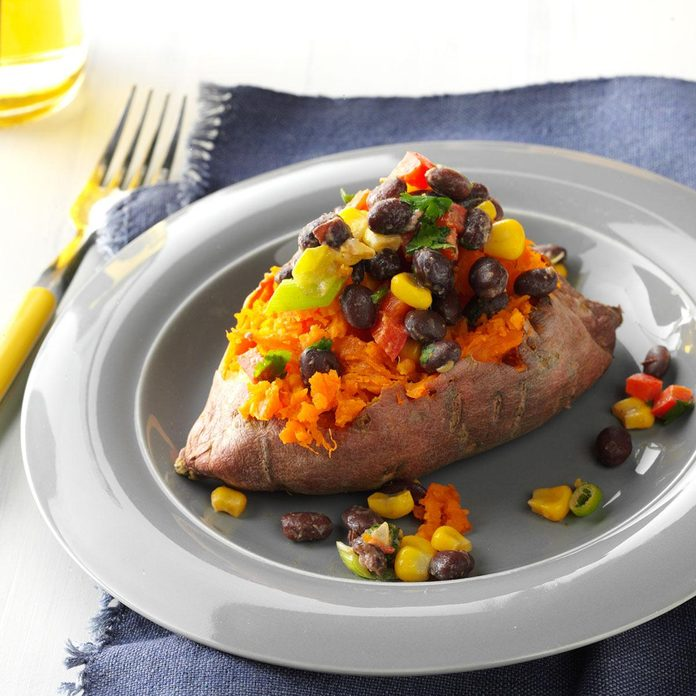 Sweet Potatoes with Cilantro Black Beans