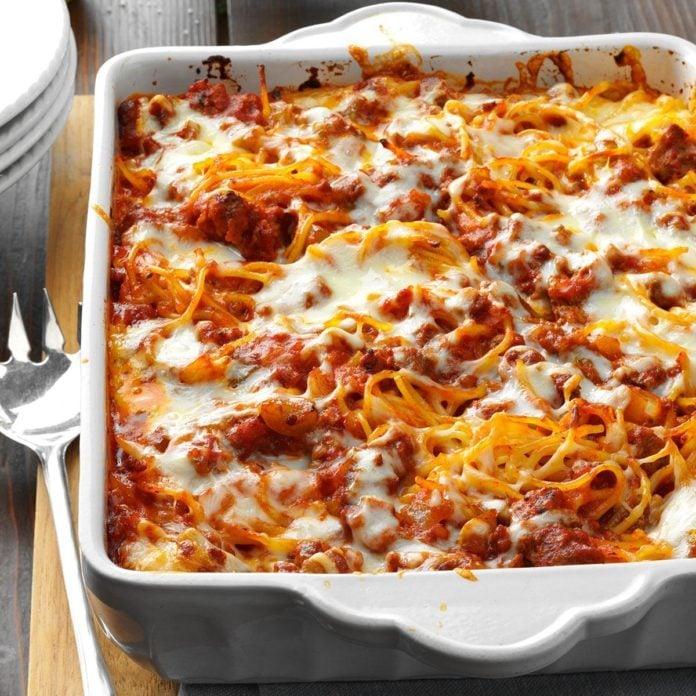 February: Mozzarella Baked Spaghetti