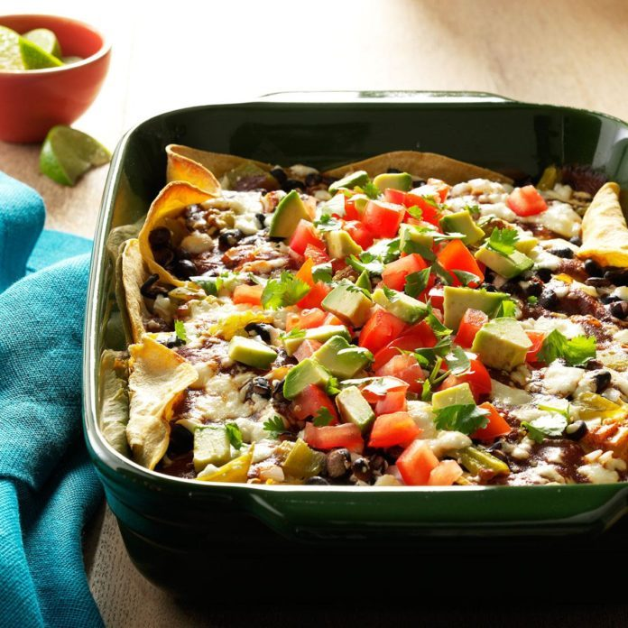 Black Bean & Chicken Enchilada Lasagna