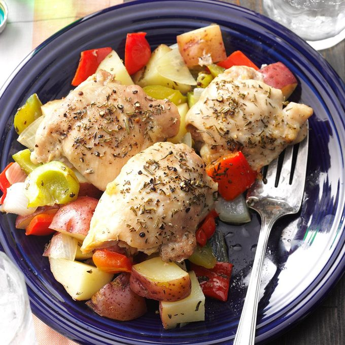 Roasted Chicken Thighs with Peppers & Potatoes