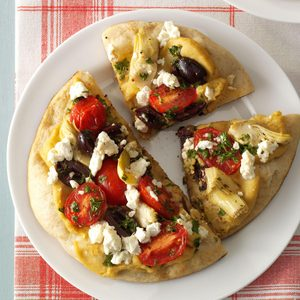 Grilled Greek Pita Pizzas