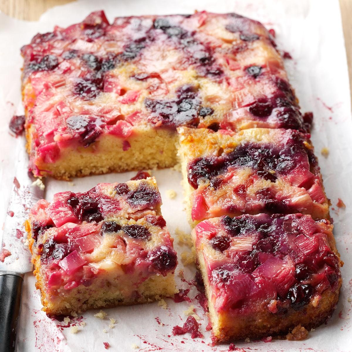 Rhubarb: Rhubarb Berry Upside-Down Cake