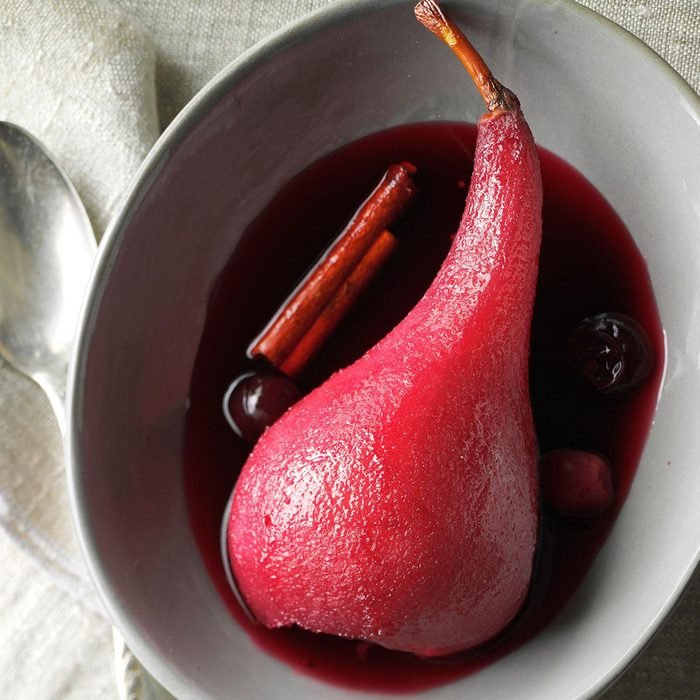 Vegan Red Wine & Cranberry Poached Pears