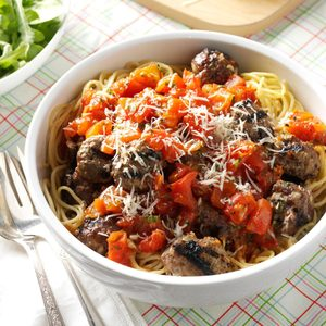 Summertime Spaghetti with Grilled Meatballs