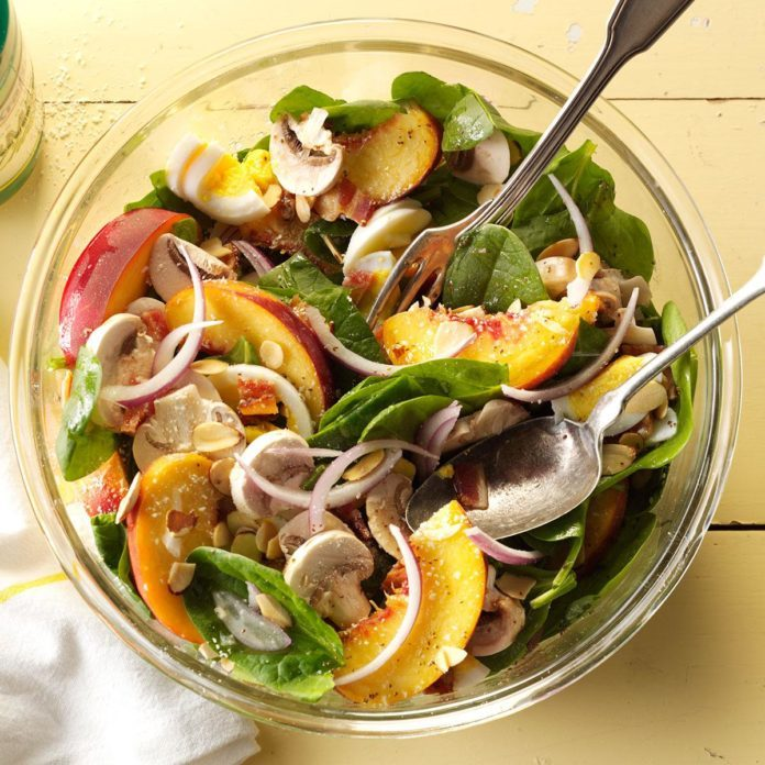 Spinach & Bacon Salad with Peaches