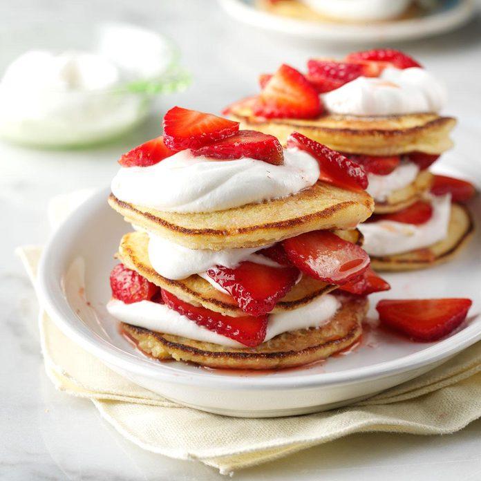 Cornmeal Towers with Strawberries & Cream