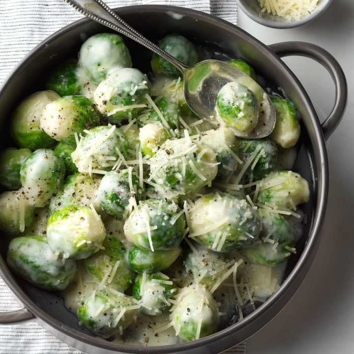 Brussels Sprouts in Rosemary Cream Sauce