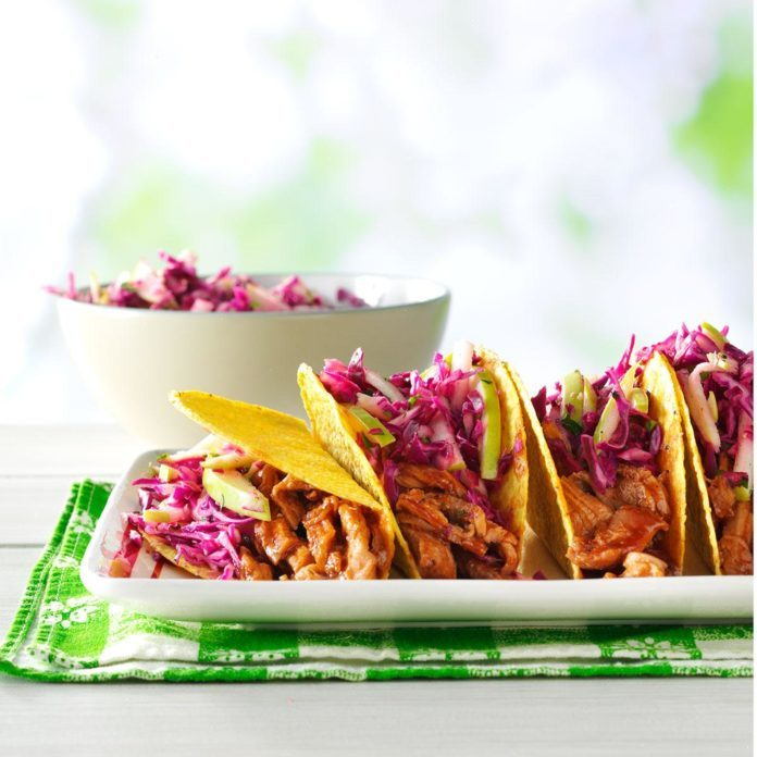 Barbecue Pork Tacos with Apple Slaw
