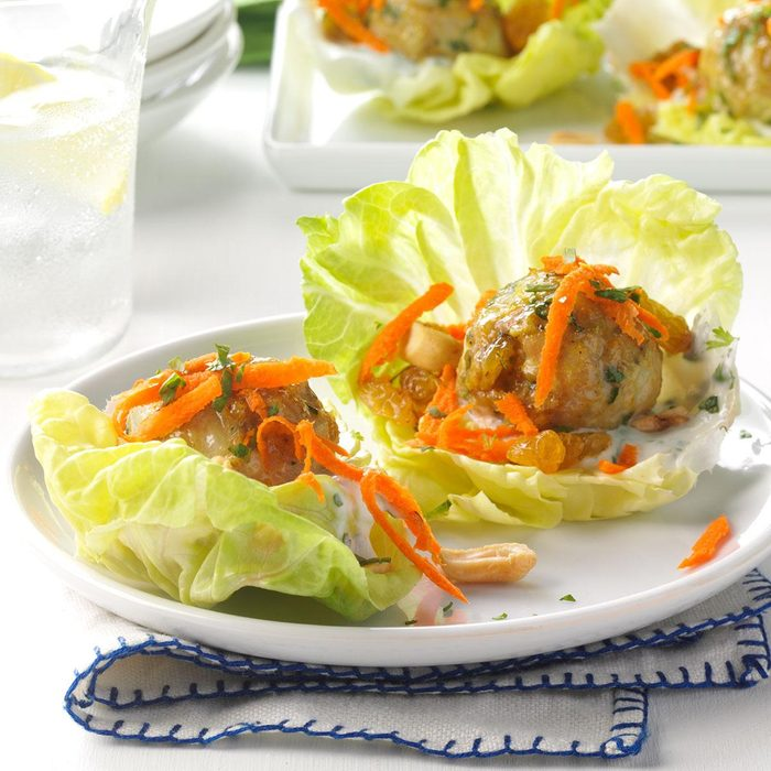 Curried Chicken Meatball Wraps