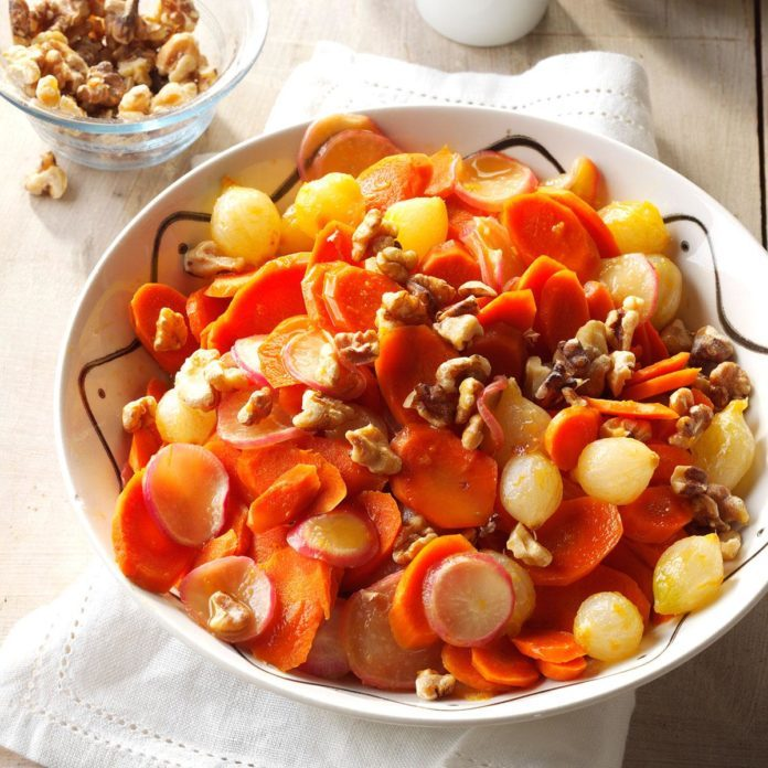 Orange-Glazed Carrots, Onions & Radishes