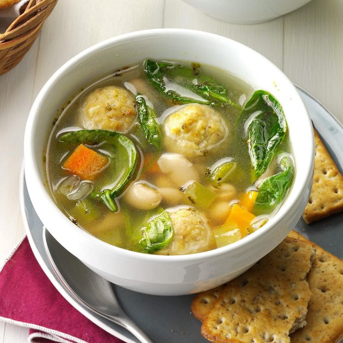 Italian Chicken Meatball and Bean Soup