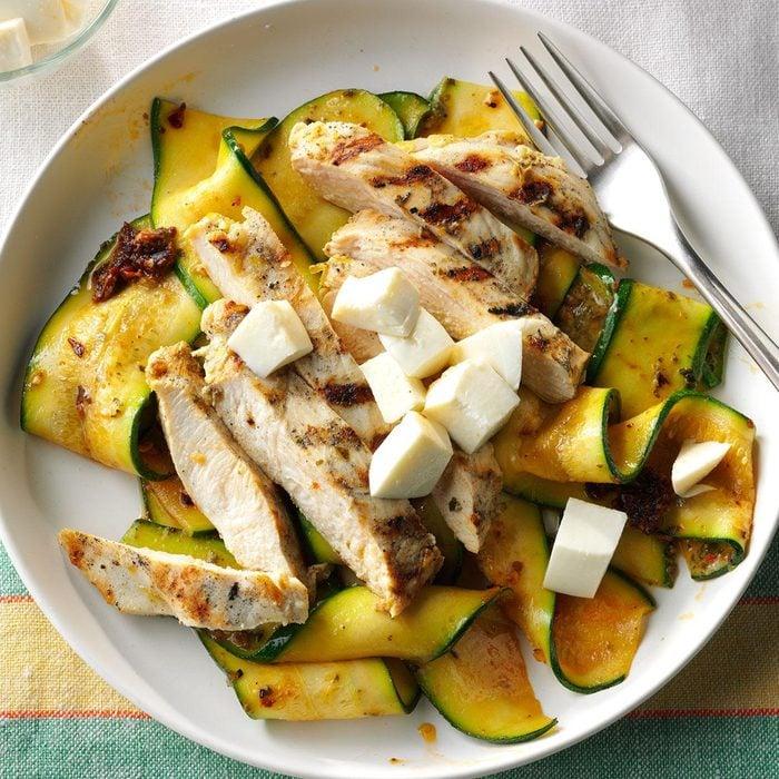 Summer Chicken Recipes - Garlic-Grilled Chicken with Pesto Zucchini Ribbons