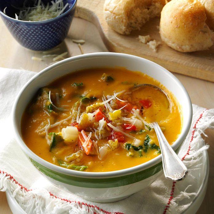 Spicy Sweet Potato Kale Cannellini Soup