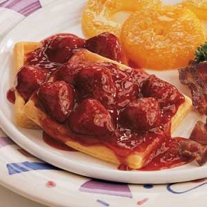 Waffles with Warm Strawberry Sauce