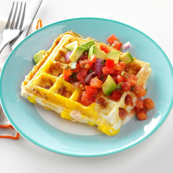 Egg-Topped Biscuit Waffles