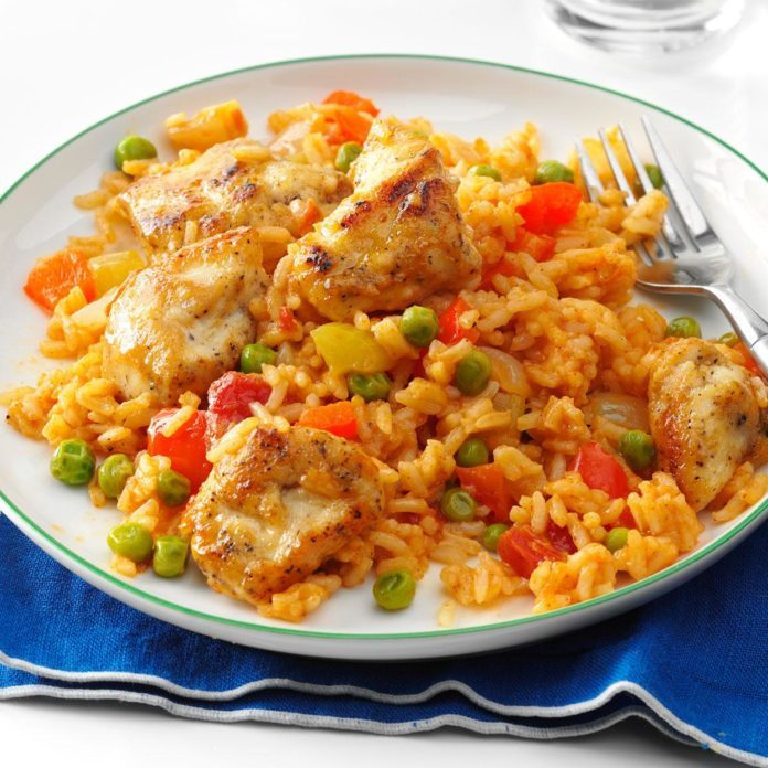 Spanish Rice with Chicken & Peas