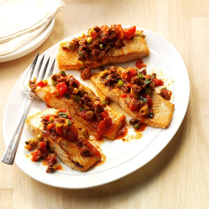 Day 30: Grilled Salmon with Chorizo-Olive Sauce