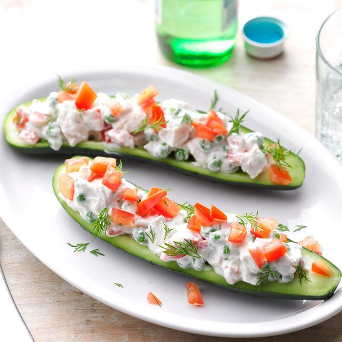 Chicken Tzatziki Cucumber Boats
