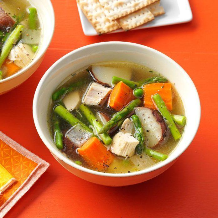 Double-Duty Primavera Chicken Soup