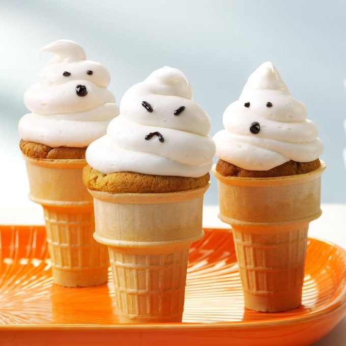 Ghostly Cupcake Cones