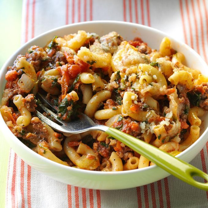 Spinach Beef Macaroni Bake