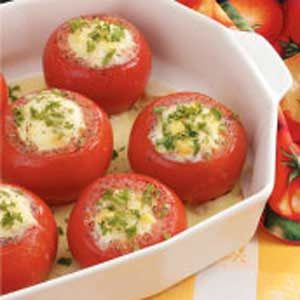 Corn Pudding Stuffed Tomatoes