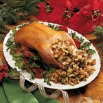 Roasted Duck with Apple-Raisin Dressing