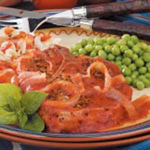 Pork Chops with Pizza Sauce