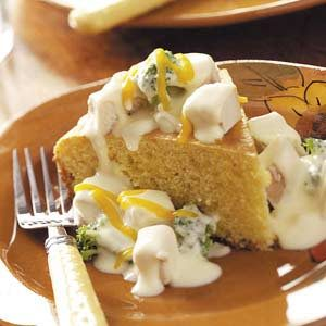 Creamed Chicken Over Cornbread