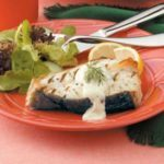 Grilled Halibut with Mustard Dill Sauce