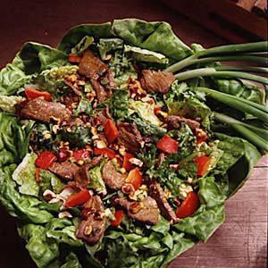 Hot Beef and Hazelnut Salad
