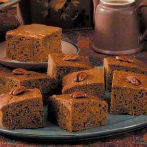 Pumpkin Gingerbread with Caramel Sauce