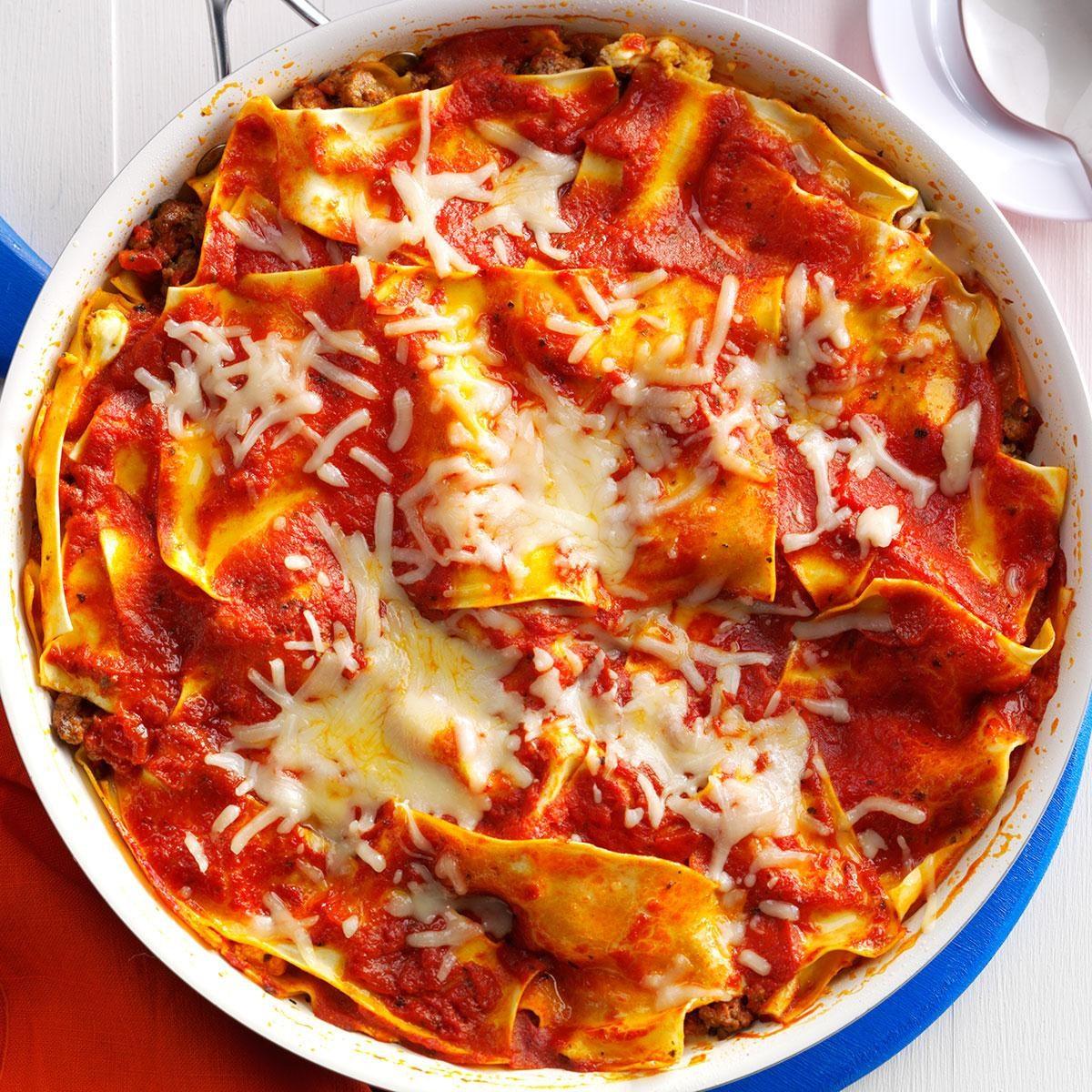saucy skillet lasagna recipe | taste of home