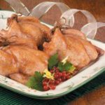 Hens with Apricot Rice Stuffing