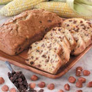 Hazelnut-Raisin Corn Bread