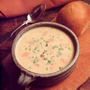 Potato Cheese Soup with Salmon