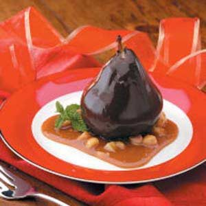Chocolate Pears in Caramel Sauce