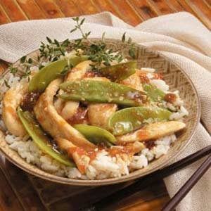 Apricot Chicken and Snow Peas